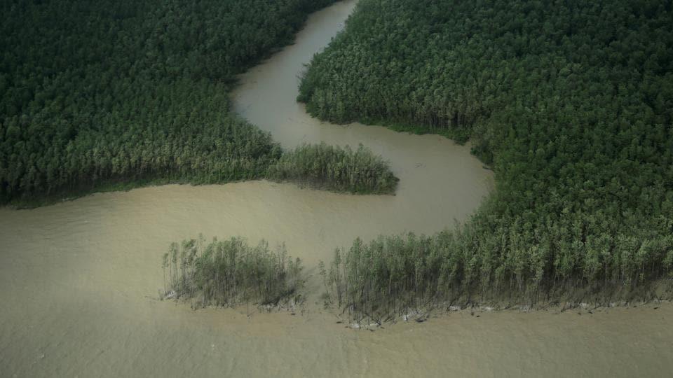 A river reaches the Atlantic Ocean on the coast of Amapa state near Oiapoque city, Brazil
