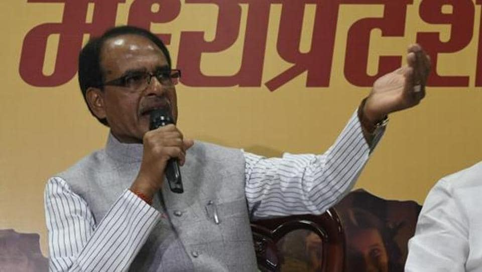 Madhya Pradesh chief minister Shivraj Singh Chouhan addresses a press conference in Bhopal on March 4.