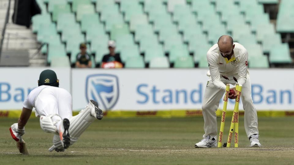 Australia's Lyon fined over De Villiers incident