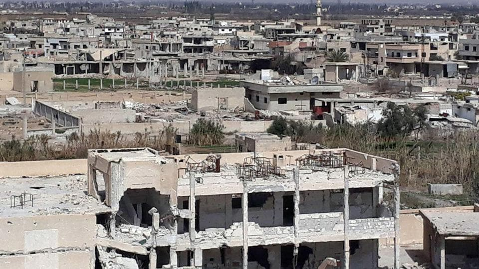A handout picture released by the official Syrian Arab News Agency (SANA) on March 4, 2018 shows a general view of the destruction in the town of Al-Nashabiyah in the besieged Eastern Ghouta region outside Syria's capital Damascus.