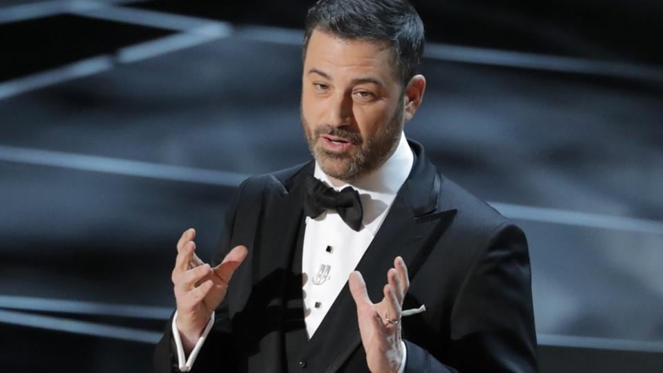 Host Jimmy Kimmel opens the 90th Academy Awards.