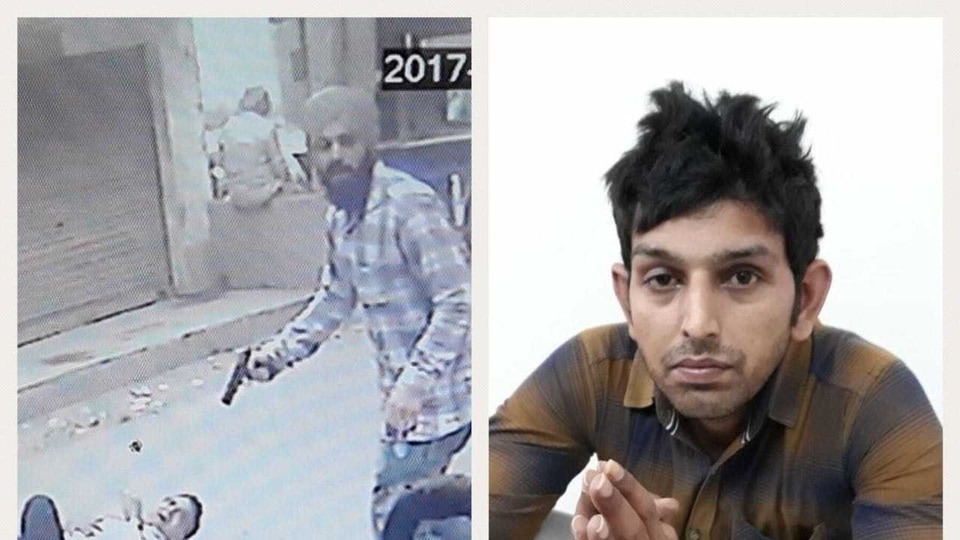Saraj Mintoo, gangster arrested in Jalandhar. Left: CCTV grab of his committing murder, and right: after the arrest on Tuesday.