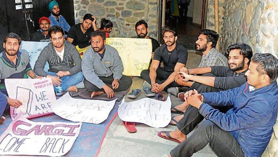 For a better education experience: Students of the department of Indian theatre staging a protest at Panjab University in Chandigarh on Monday.