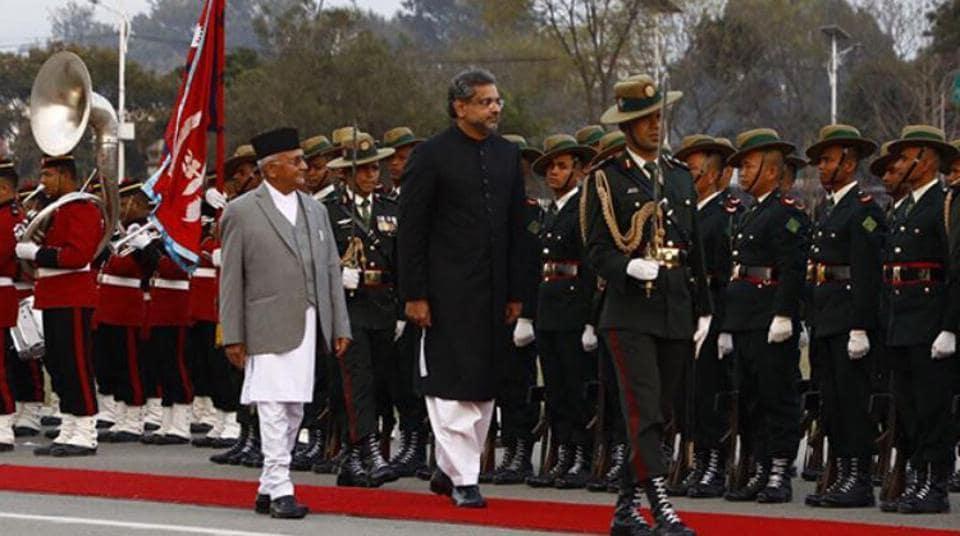 Pakistan Prime Minister Shahid Khaqan Abbasi with his Nepalese counterpart KP Sharma Oli in Kathmandu on March 5, 2018.