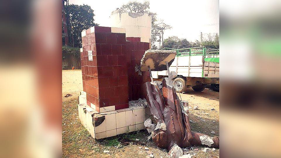 A statue of Vladimir Lenin brought down at Sabroom motor stand in Tripura.