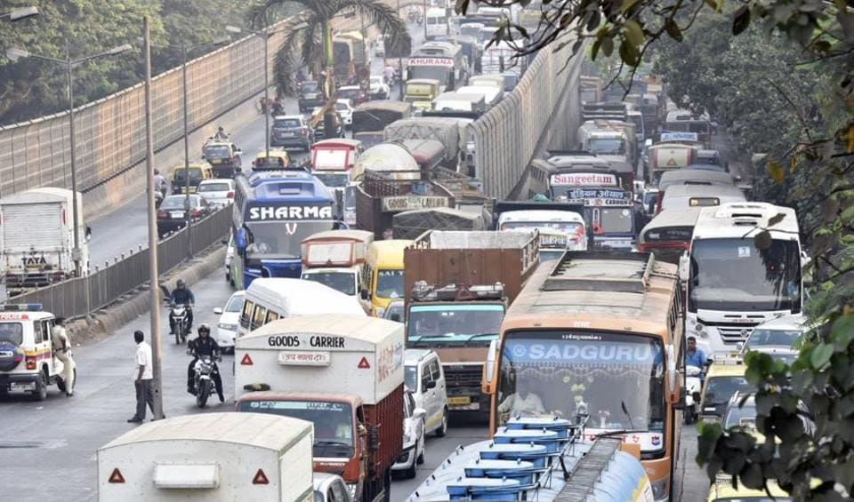 Motorists heading towards south Mumbai were stuck in bumper-to-bumper traffic on Tuesday morning.