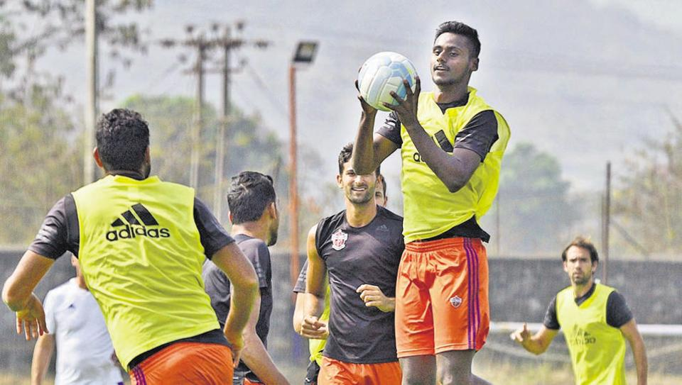 Players during a practice session at Pune FC training pitch at Pirangut ahead of semi final leg 1 match against Bengaluru FC in Pune.