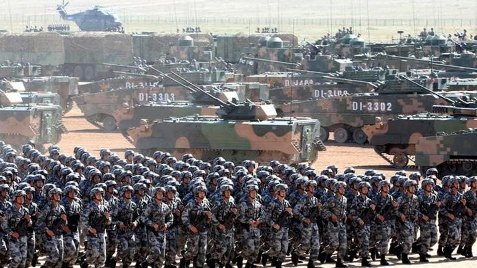 Soldiers of China's People's Liberation Army (PLA) take part in a military parade in Inner Mongolia Autonomous Region.