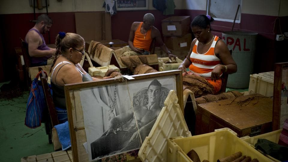 Workers sort tobacco leaves, choosing only the best for rolling, next to a portrait of Portuguese football star Cristiano Ronaldo, at La Corona cigar factory. Most of the workers in the factory are women, and while men put up images of sports stars in action, the women prefer more relaxed images of the footballer. (Ramon Espinosa / AP)