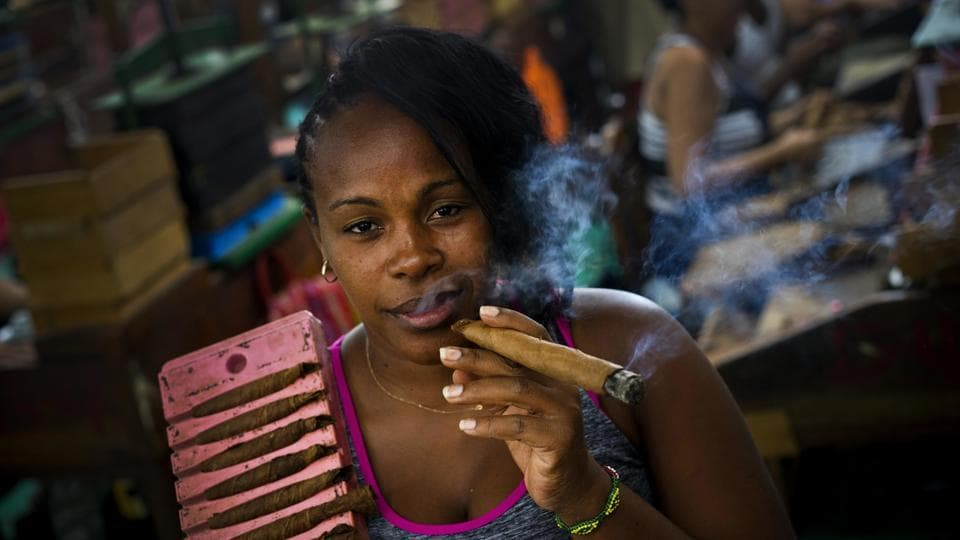 Puffing on a cigar between work is Yordanka Herrera, a cigar roller at the factory. Propped up on her shoulder is one side of a mould where tobacco leaves are placed, pressed and shaped into cigars. The cigar rollers undergo specialised training programmes before they can roll top quality Cuban cigars. (Ramon Espinosa / AP)