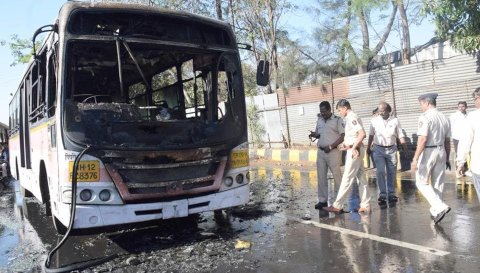PMPML bus that caught fire in Pimpri on February 12.