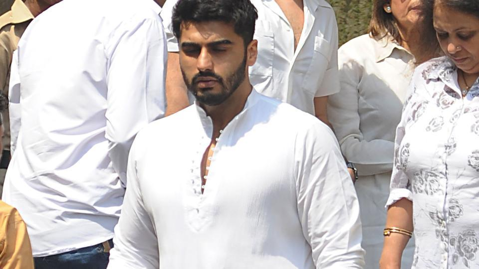 Bollywood actor Arjun Kapoor attends the funeral of legendary late Bollywood actress Sridevi Kapoor in Mumbai on February 28, 2018.