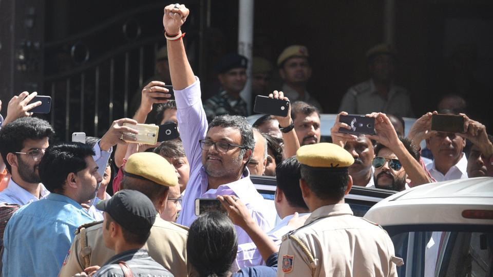 Karti Chidambaram, son of former finance minister P Chidambaram at the Patiala House Court in New Delhi on March 6, 2018.