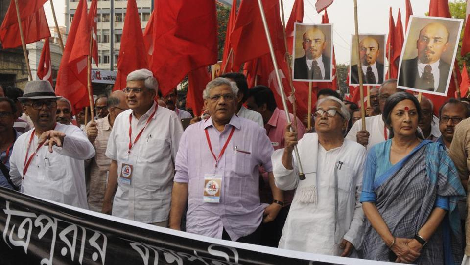 CPI(M) leaders Prakash Karat, Sitaram Yechury, Biman Bose, Brinda Karat and more than thousand supporters took out a protest rally against demolition of Lenin's statue in Tripura from Alimuddin street party office to Lenin Statue, Esplanade in Kolkata.
