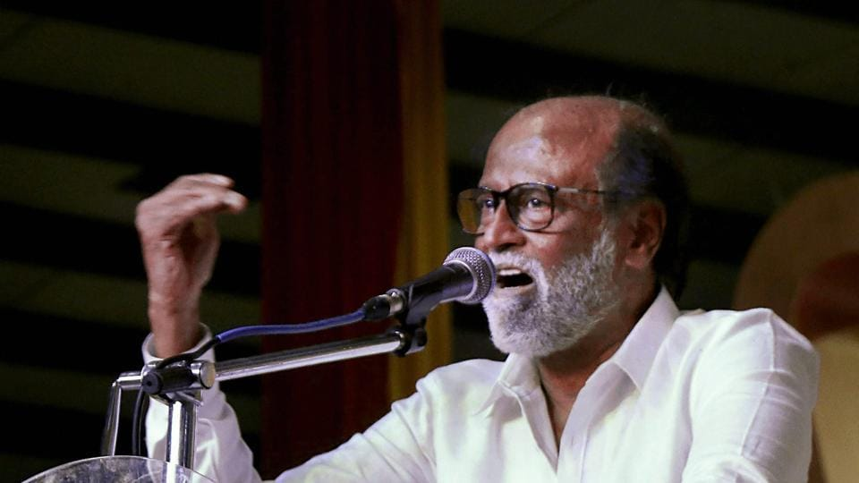Tamil Superstar Rajinikanth addressies students after unveiling a statue of former chief minister and his super-senior in the film industry, MG Ramachandran at the Dr MGR Educational and Research Institute in Chennai on Monday.