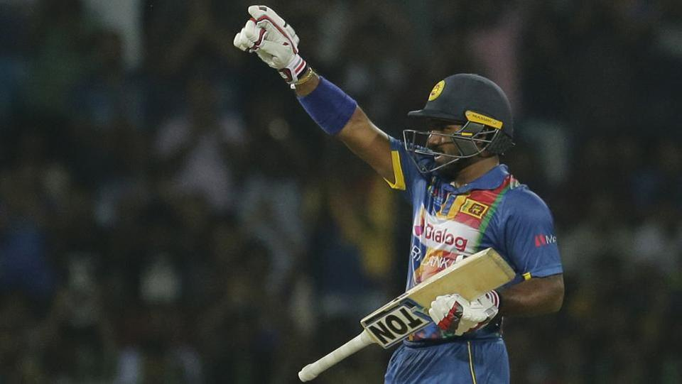 Sri Lanka's Kusal Perera celebrates after scoring his half century which earned him the Man of the Match award. (AP)