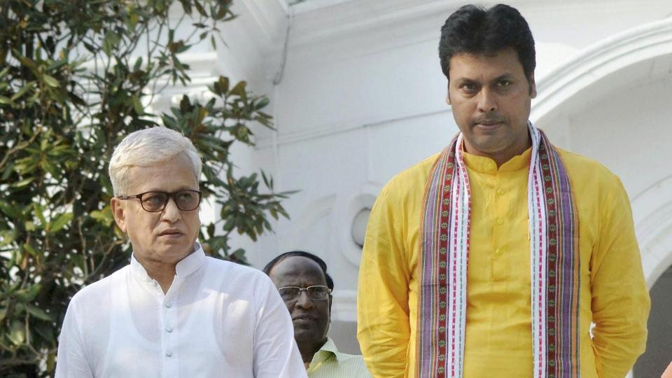 Tripura's chief minister-designate Biplab Deb along with deputy CM-designate Jishnu Debbarma arrive to meet Tripura Governor Tathagata Roy in Agartala on Tuesday.