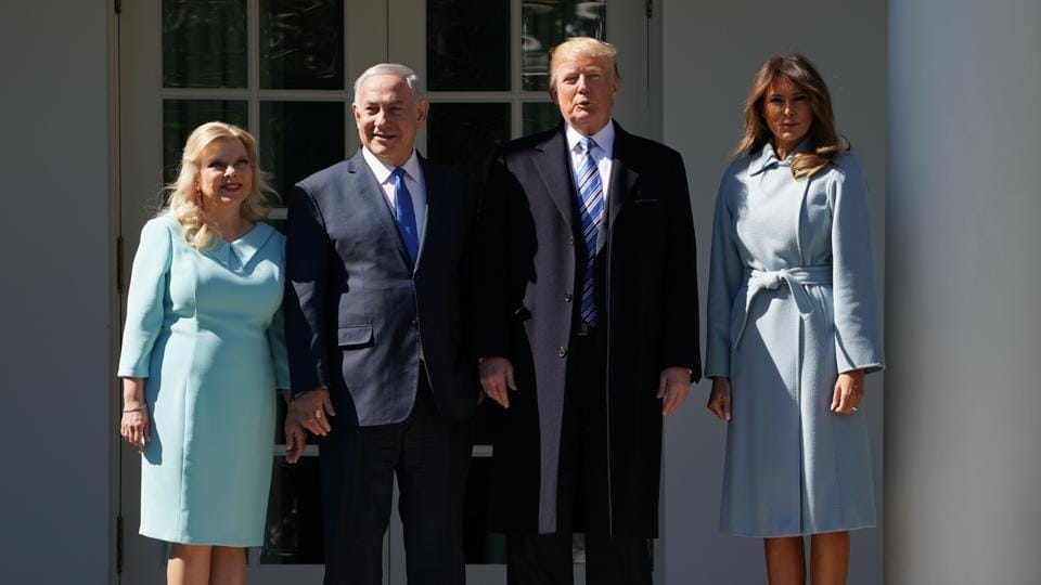 US President Donald Trump and First Lady Melania Trump welcomes Israeli Prime Minister Benjamin Netanyahu and his wife Sara to the White House on March 5, 2018 in Washington, DC.