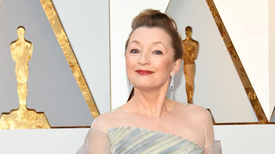 Lesley Manville arrives for the 90th Annual Academy Awards on March 4, 2018, in Hollywood, California.