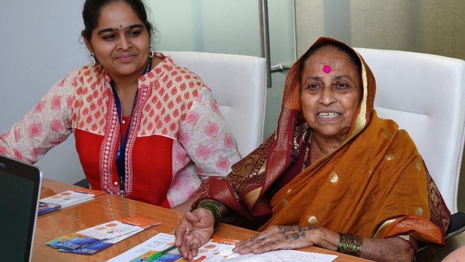 Indubai Sakat (right) with her colleagues at the Bhagini Nivedita Cooperative Bank.