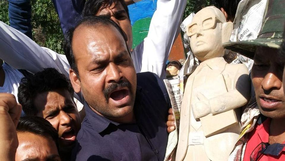 A new statue of BP Ambedkar being installed in place of the one vandalised in Meerut on Wednesday.