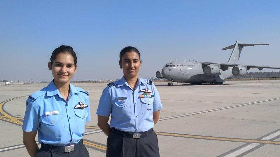 Flying Officer Avani Chaturvedi (left) with Squadron Leader Khushboo Gupta.