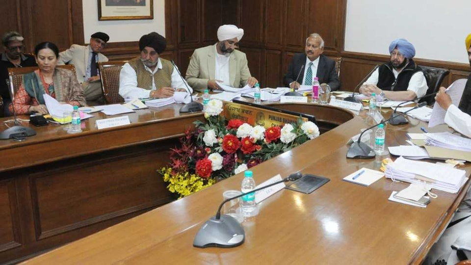 Punjab chief minister Captain Amarinder Singh presiding over the cabinet meeting at Punjab Bhawan, Chandigarh on Wednesday.