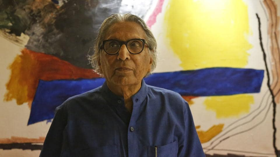 Balkrishna Doshi who won the 2018 Pritzker Architecture Prize poses for the Associated Press at his home in Ahmedabad.