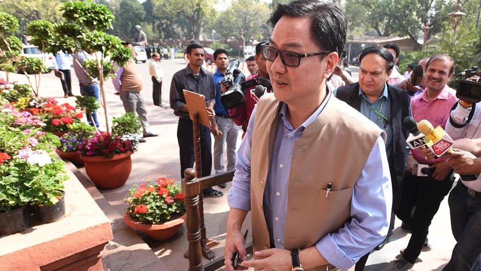 Union minister of state for home Kiren Rijiju at the budget session in New Delhi on Wednesday.