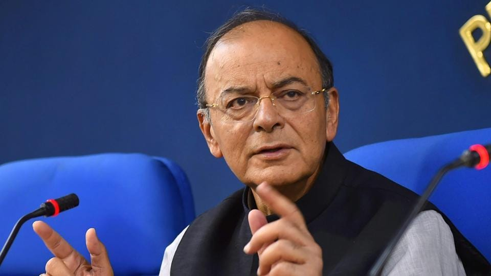 Finance minister Arun Jaitley at a press conference after a Cabinet meeting in New Delhi on March 1.