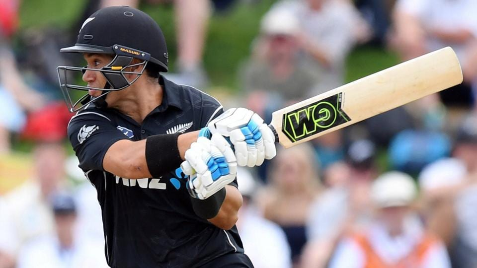 New Zealand cricket team's Ross Taylor hits a boundary during the 4th ODI against England cricket team onWednesday.