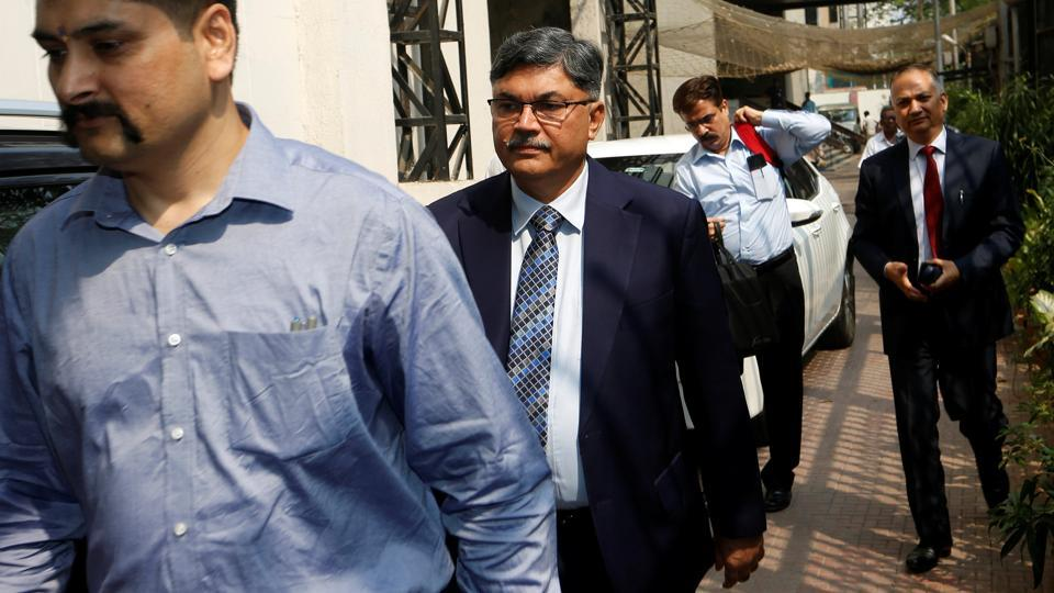 Sunil Mehta, Managing Director and Chief Executive Officer of Punjab National Bank, arrives at the Serious Fraud Investigation Office (SFIO) to record his statement in connection with the Punjab National Bank scam, in Mumbai on Wednesday. (REUTERS )