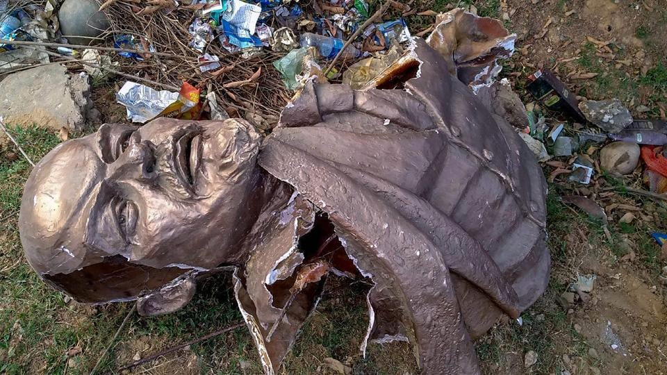 Remains of the five-feet-tall statue of Lenin which was allegedly demolished at Belonia in South Tripura district on Monday.