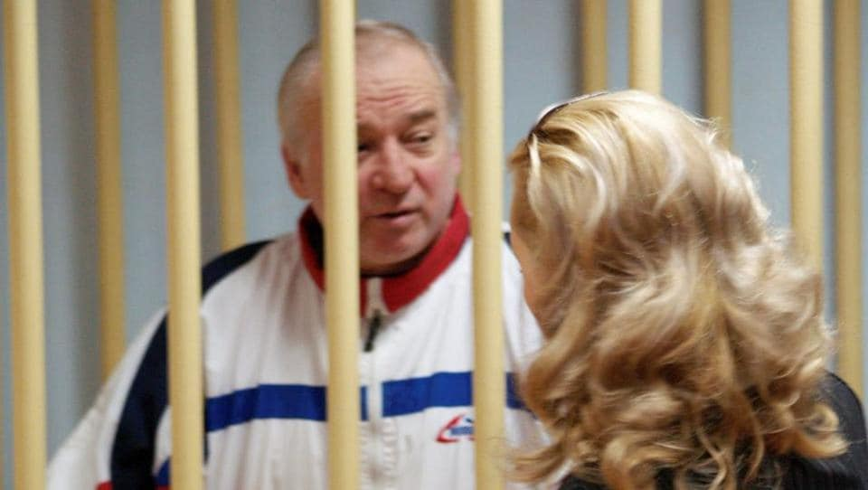 Sergei Skripal, a former colonel of Russia's GRU military intelligence service, looks on inside the defendants' cage as he attends a hearing at the Moscow military district court, Russia August 9, 2006.