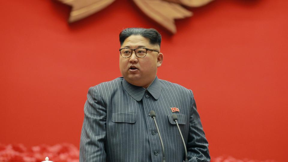 North Korean leader Kim Jong Un speaks during the conference of cell chairpersons of the ruling party in Pyongyang. Tensions had risen to the highest level in years over North Korea's weapons programmes, which it pursues in defiance of UN Security Council resolutions.