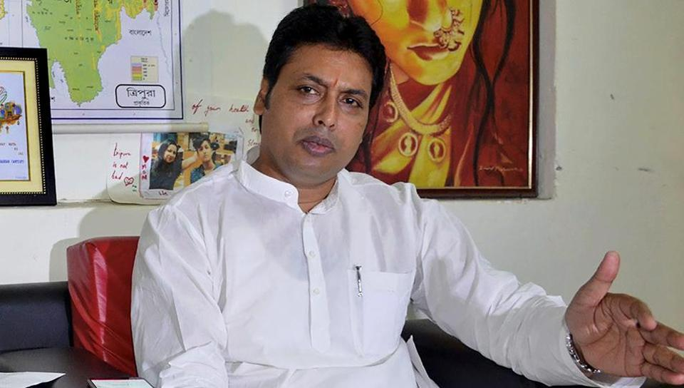 Tripura chief minister-elect Biplab Kumar Deb interacts with media ahead of his swearing-in ceremony on March 9, in Agartala on Wednesday.