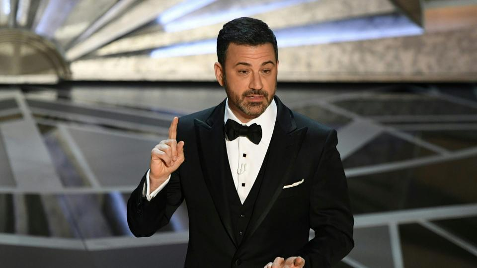 Comedian Jimmy Kimmel delivers a speech during the opening of the 90th Annual Academy Awards.