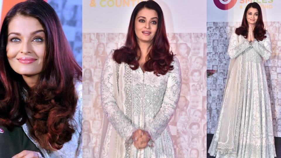 Aishwarya's pristine Manish Malhotra anarkali was full-sleeved and had embroidered silver sequins and beads all over.
