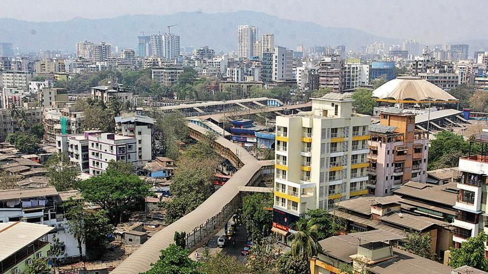 An aerial view of the skywalk outside Thane railway station. A maze of buildings has cluttered the Kopri area.