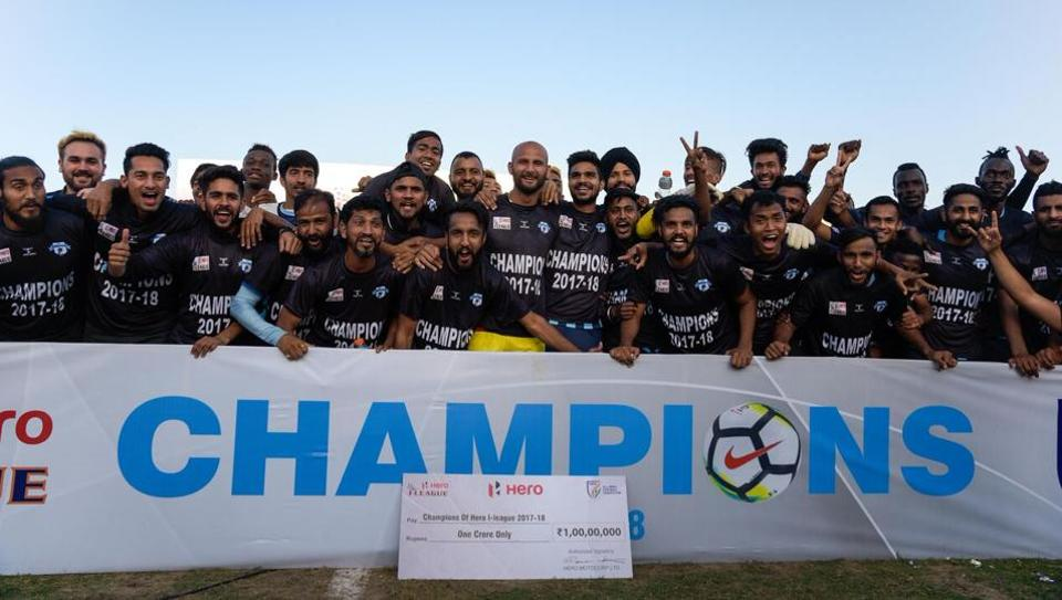 Minerva Punjab FCplayers celebrate after they beat Churchill Brothers 1-0 in Panchkula on Thursday to win the I-League 2017-18.  (AIFF)