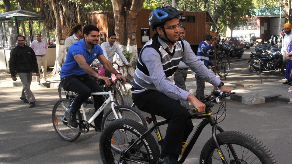 MC commissioner Jitender Yadav on the way to his office in Sector 17 on Wednesday.