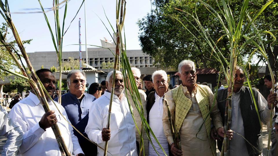 Congress legislators holding sugarcane stalks during a protest outside the Vidhan Sabha complex in Chandigarh on Wednesday.