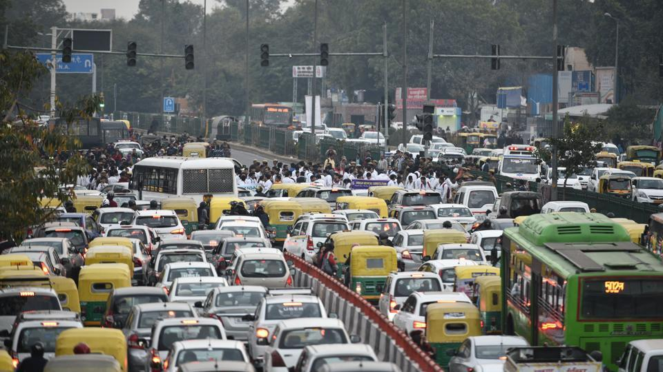 Delhi traffic,New Delhi,Solar summit Delhi