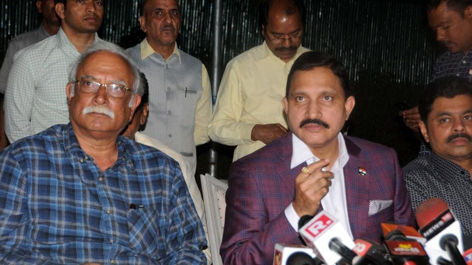 TDP leaders Ashok Gajpatraju with Sujana Chaudhary addresses the media after submitting resignation to Ministry in New Delhi, India on Thursday, March 8, 2018. (HT Photo)