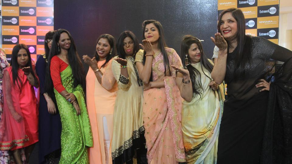 Survivors of acid attacks during a unique fashion show in Thane Mall, Mumbai on Women's day.