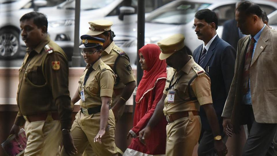 Hadiya outside the Supreme Court after hearing in New Delhi on November 27