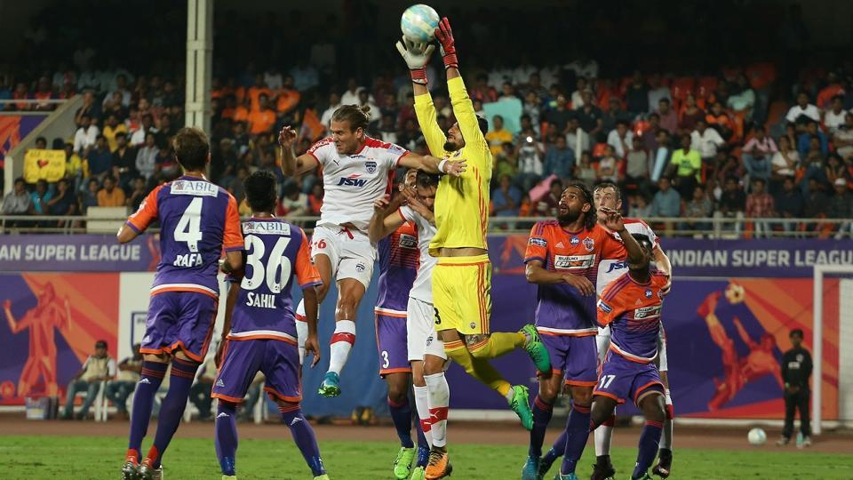 Vishal Kaith of FC Pune City during the first leg semi-final of the Indian Super League match against Bengaluru FC at the Shree Shiv Chhatrapati Sports Complex Stadium, Pune, on Wednesday.