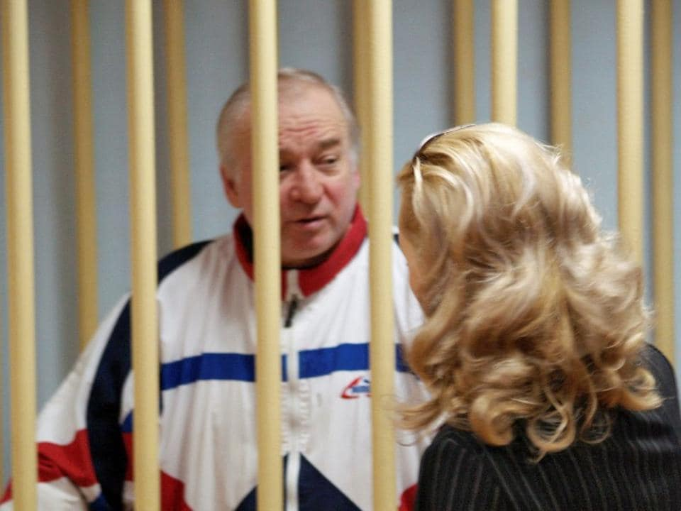 Sergei Skripal, a former colonel of Russia's GRU military intelligence service, in the defendants' cage at a hearing in a Moscow military district court.