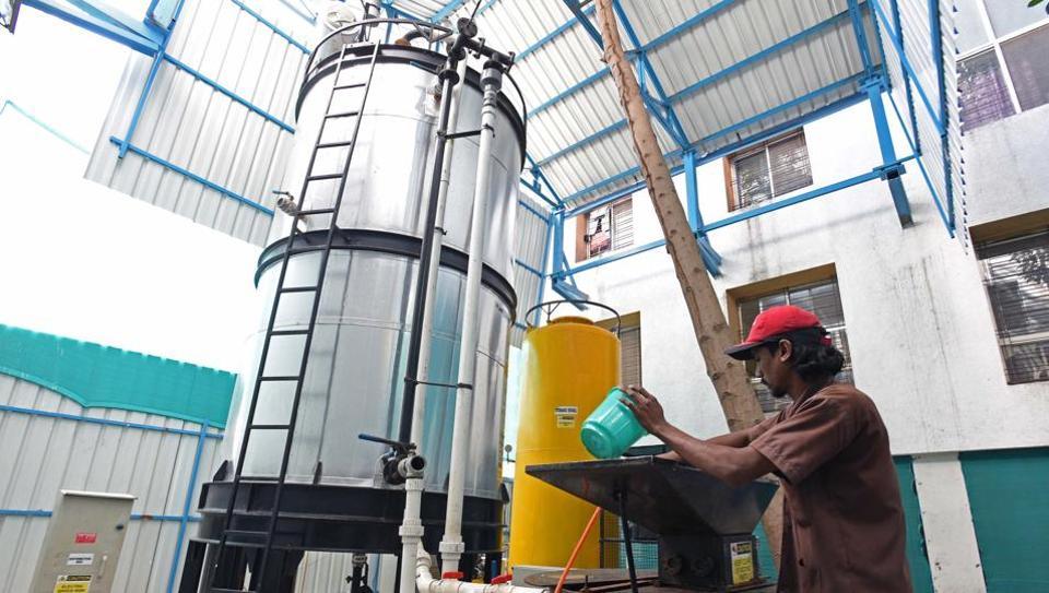Biogas plant at Maharshi Karve Stree Shikshan Sansthan in Pune.