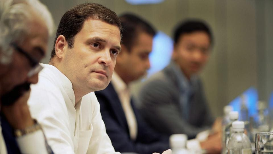 Congress president Rahul Gandhi during a meeting with Indian-origin CEOs of Singaporean companies, in Singapore.